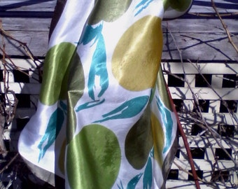 Adorable Fifties Scarf in Fresh Apple Greens with Hand-rolled Hem