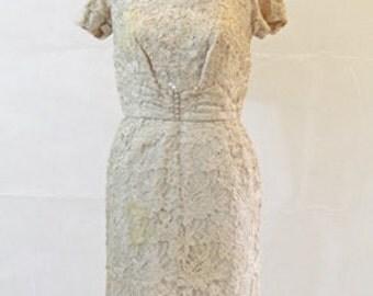 "Marsha Mayne Beaded Lace Cocktail Dress 24""W"