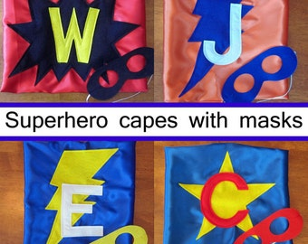 SUPERHERO CAPE and MASK - Quick Shipping - Cape and Mask Set - Cape Personalized with Lighting Bolt, Starburst, Heart or Star