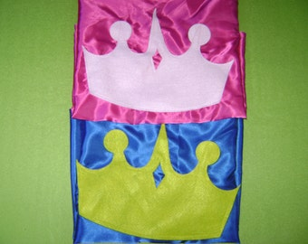 PRINCE Capes - PRINCESS CAPES - Super Hero Cape with Crown - Princess Party Capes - Birthday Crown Capes - Crown Capes