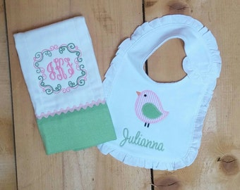 Personalized Monogrammed Appliqued Ruffle Bib and Burp Cloth Set or Individually with Pink and Green Baby Bird for Baby Girl