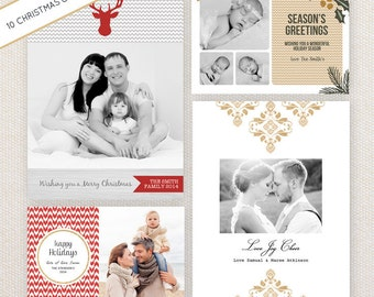 INSTANT DOWNLOAD: 10 PSD Christmas / Holiday photo card templates. Mini Pack 30.