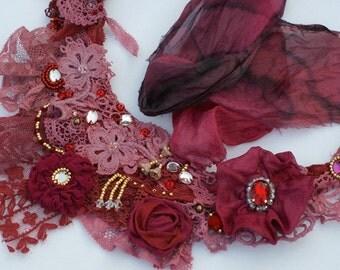 Bohemian necklace, antique lace necklace, tattered necklace, mixed media necklace, OOAK necklace, boho necklaceal, marie Antoinette necklace