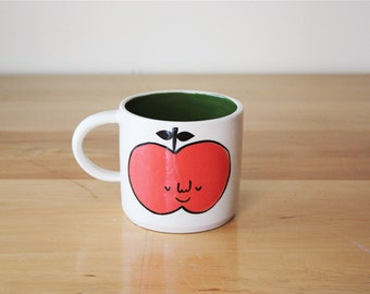 Made to order: Happy Apple Mug with Forest Green Interior