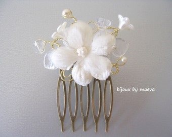 jewelry wedding / bridal hairstyle hair flower and beads romantic ivory