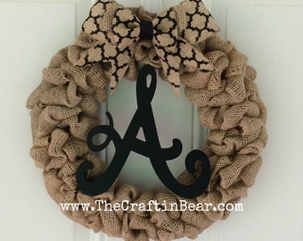 Burlap wreath with initial and medallion bow - personalized wreath - initial wreath