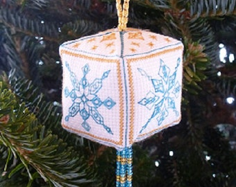 3D Christmas ornament with four blackwork embroidery snowflakes. PDF pattern.