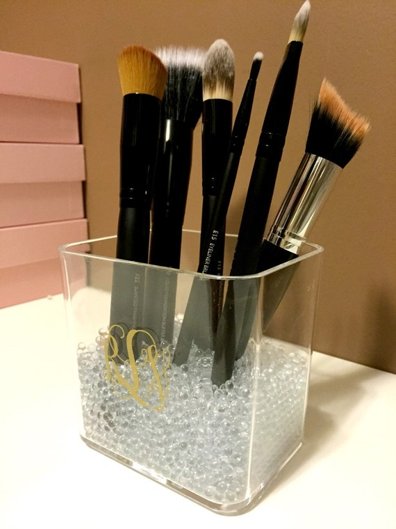 monogrammed acrylic makeup brush holder small by thepinkplumco. Black Bedroom Furniture Sets. Home Design Ideas