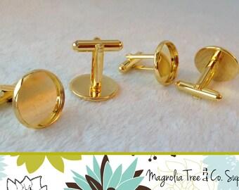 16mm Cufflinks, DIY cuff links, Gold Plated, Bezel Blank, cufflink findings, bezel settings, makes 5 pairs (WS9-GD5)