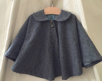 Girl's Herringbone Cape with collar // Toddler Cape