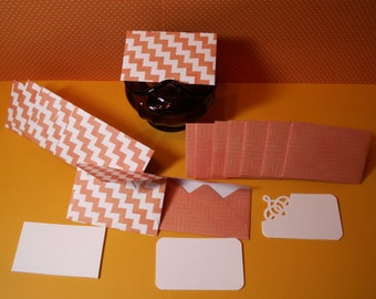 16 coral chevron mini note cards for weddings, birthdays, bridal showers, baby showers.