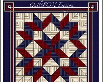 "Carpenters Star Quilt Pattern - String quilt pattern - King Size: 108"" x 108"""
