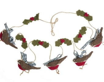 Knitted Bunting | Hand Knitted Robin Bunting | Christmas Decorations | Home Decor | The Little Songbird Knitting Co