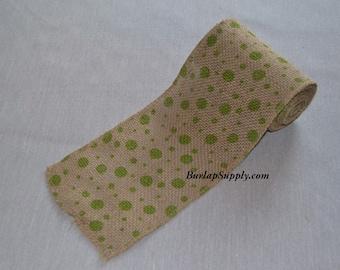 """5.5"""" wide Green Spot Printed Burlap Ribbon 5 yards"""