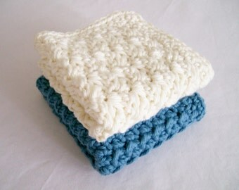 Crocheted Washcloths or Dishcloths  in Cream and Blue (2)