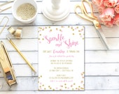 Sparkle and Shaine Pink and Gold One Birthday Invitation, Glitter, 1st Birthday, First Birthday, Blush Pink, Printable