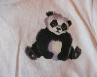 White Childrens  T-shirt with  Panda  on Front and Back  Design
