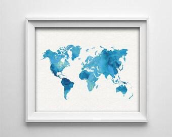 "INSTANT DOWNLOAD 8X10"" printable digital art - Watercolor style world map- Blue- Nursery art - Bedroom - Gallery wall"