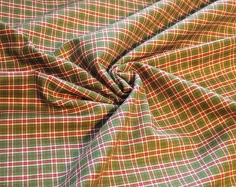 Yarn Dyed Plaid Cotton Shirting fabric by the yard - Green/Red/Ivory