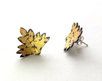 Leaf shaped silver post earrings with Keum Boo gold surface