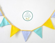 Garland flag Pastel blue, green, yellow - decorating bedroom child to personalize