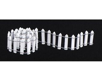 "Miniature White Picket Fence (18"" L x 1"" H) Dollhouse Miniatures Fairy Garden Miniatures Terrariums Planters Dioramas - 532 A"