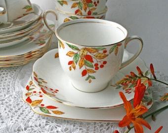 Bell China Teacup Trio. English Bone China Tea Set. Shore and Coggins 1940's tea party. Vintage homeware.