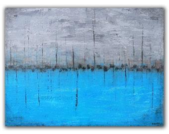 Abstract Art Home decor, Giclee print, Nautical art, grey blue artwork, abstract wall art, Blue abstract print, 8x11 Modern seascape art