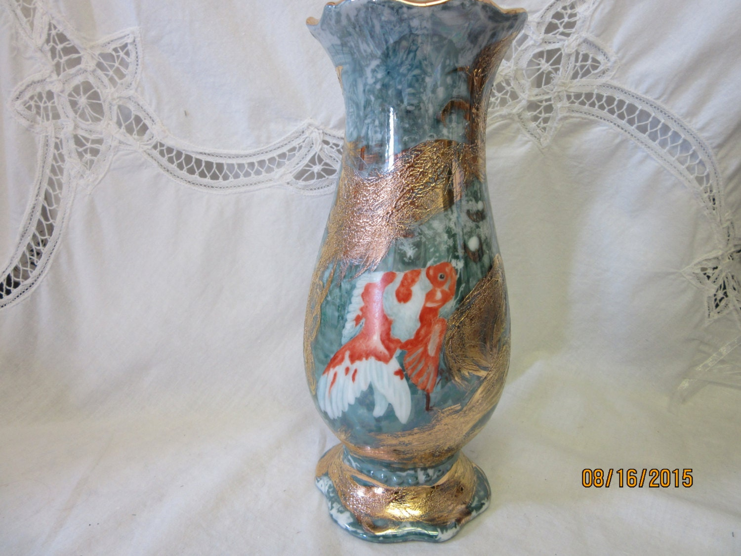 Koi fish vase gold fish koi with luster and by for Koi fish vase