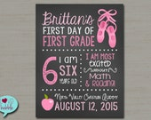 """First Day of School Photo Sign, Back to School, dance Chalkboard Photo Picture Sign  - PRINTABLE DIGITAL FILE 8.5"""" x 11"""""""
