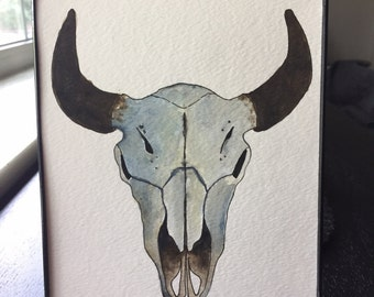 Bison Skull Watercolor Painting
