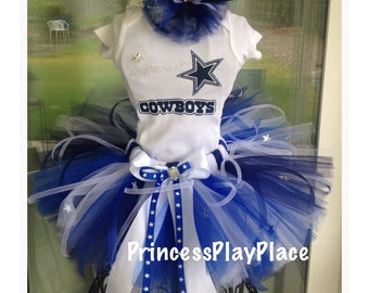 Dallas Texas Cowboys inspired Cheerleader Football Tutu Outfit Newborn 0 3 6 9 12 18 24 Months 2T-7T Adult available Halloween Costume
