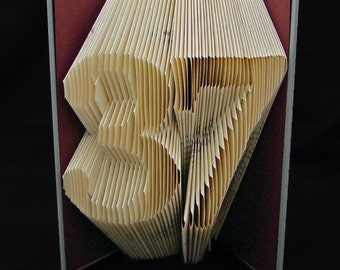 37 -- Birthday Gift -- Lucky Numbers -- Numbers & Digits -- Folded-Book Art Sculpture