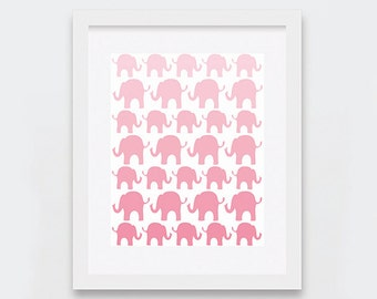 Pink Elephants Digital Print, Elephants Nursery Decor, Baby Girl Room Decor, Baby Pink Ombre Nursery Art Printable, Blush Pink Art Print