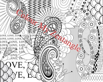 "Paisley Zentangle - Large Colouring Page 12""x12""'"