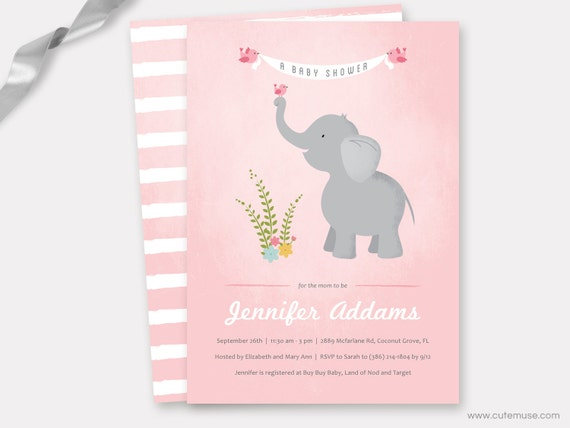 Elephant baby shower invitation printable girl baby shower il570xn filmwisefo Gallery