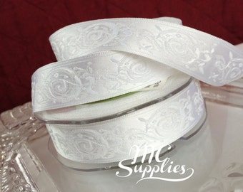 White ribbon,embroidered ribbon,satin ribbon,embellish ribbon,fabric ribbon,wedding ribbon,ribbon for bows,decorative ribbon,ribbons,172