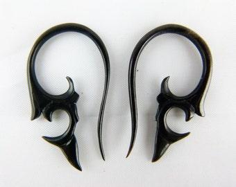 2mm Horn Earrings (Pair)  2mm / 12 Gauged Tribal Horn - Handcrafted 2 mm Organic Horn hanging Earring B006