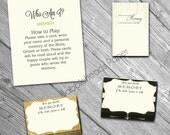 Gold, Black and White, Elegant Engagement Party or Couples Shower Memory Game Instant Download