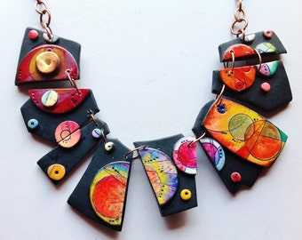"Polymer clay, ""Kandinsky"" necklace, MAKE TO ORDER, unique, handmade, hand painted, parure earrings to order"