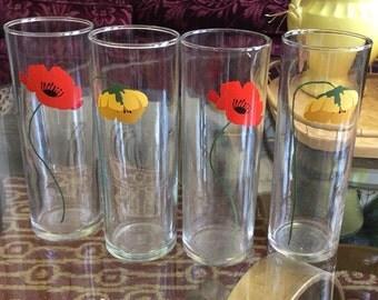 Vintage Anchor Hocking Poppy Drinking Glasses