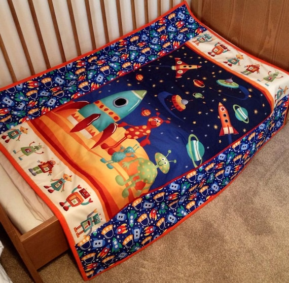 Children 39 s quilt quilted blanket space quilt by for Spaceship quilt