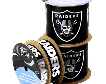 NFL Oakland Raiders, 4-pack of Ribbon, Licensed NFL Offray Ribbon