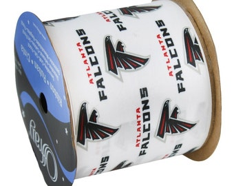 "2.5"" NFL Atlanta Falcons Ribbon, 9 foot spool, Licensed NFL Offray Ribbon"
