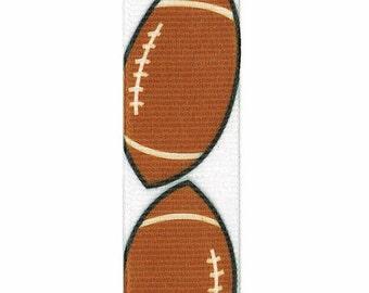"7/8"" Football Printed Grosgrain Ribbon   - Offray White Grosgrain Sports Ribbon"