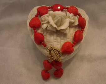 Red Heart Shaped Glass Beaded Bracelet With Matching Earrings