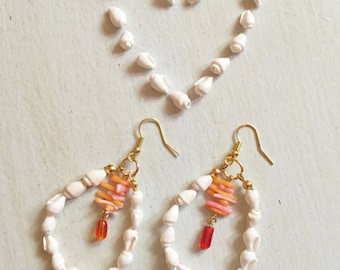 Beach Jewelry, Shell Earrings, Coral Earrings