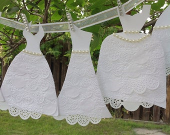 Paper Wedding Dress Garland - Bridal Shower Decoration - White Dresses With White Ribbon