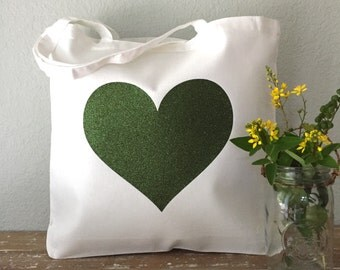 Forest Green Heart Canvas Tote Bag - purse, beach bag, grocery bag or bridesmaids gift bag