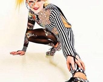 USED ** cheetah one piece dance costume